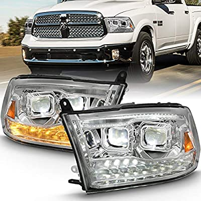 AmeriLite for 2009-2018 Dodge Ram 1500 2500 3500 [Full LED] Chrome Dual Quad Projectors Headlights Assembly Xterme LED Switchback Parking Turn Signal Replacement Set - Passenger and Driver Side