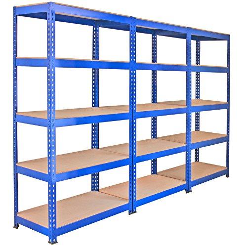 Monster Racking - 3 Estanterías Q-Rax de Acero Sin Tornillos Azules 90cm x 50cm x 182,5cm