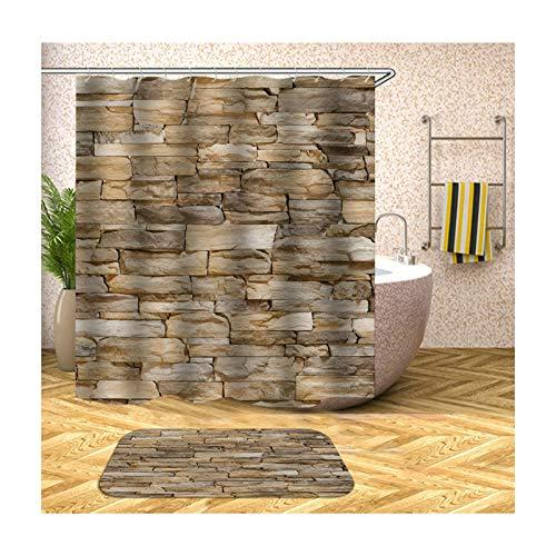 AmDxD Duschvorhang Badteppiche Set aus Polyester| 3D-Druck Rechteckig Steinwand Muster Design Badewanne Vorhang Badezimmer Matte | Bunt | mit 12 Duschvorhangringen für Badewanne Badezimmer - 120x180CM