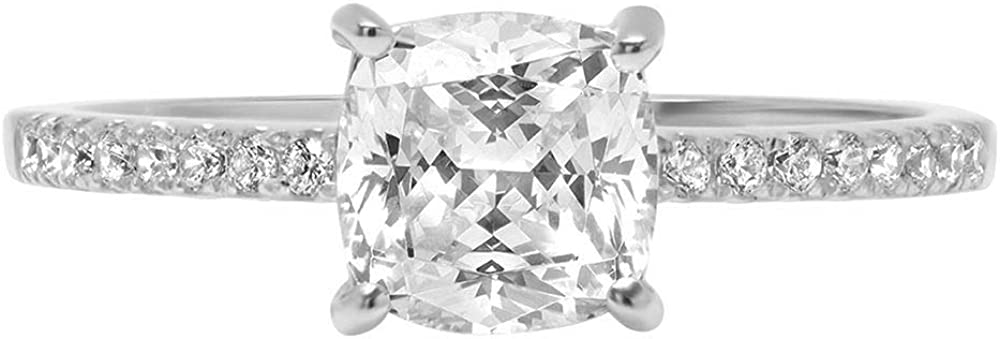 1.6ct Brilliant Cushion Cut Solitaire with Accent Stunning Genuine Moissanite Ideal VVS1 D & Simulated Diamond Engagement Promise Statement Anniversary Bridal Wedding Ring Solid 14k White Gold