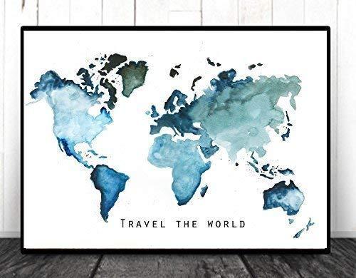 ★TinyTami ★ Aquarell Kunstdruck ★ Weltkarte - Globus - Globetrotter - Erde Karte DINA A3 ★Erde ★Welt★ Reise ★ 100% Handmade