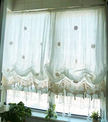 Hughapy Pastoral Lace Tie Up Shade Curtain 58 by 69 inch Length Adjustable Balloon Manual Hook Flower Shade Curtains Christmas Decor, Off-White
