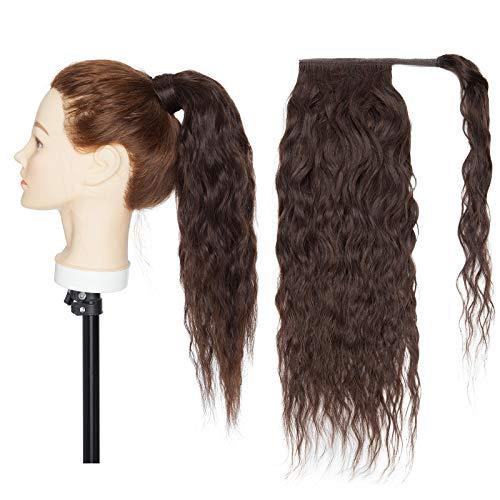 Silk-co Ponytail Extension Haarteile Echthaar Corn Wave Haarverlängerung Pferdeschwanz Extensions Echthaar 7A Remy Hair Clip in Extensions Echthaar Wrap Around Zopf Extension 55cm-95g #02 Dunkelbraun