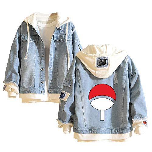 Naruto Pullover Wilde Fashion koreanische Version Fake Zwei Stücke mit Kapuze Mantel Patterned Druck Jeansjacke Unisex (Color : Blue03, Size : Height-185cm (Tag XXL))