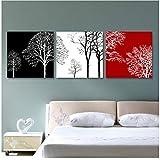 JinYiGlobal Pintura de Pared 3 Piezas Lienzo Imagen Negro Blanco Rojo árbol casa decoración Arte Moderno impresión Imagen pantalla-50x50 cm sin Marco