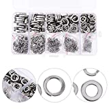 WSHR-106804 600pcs Spring Washer Prime Durable Premium Sturdy Gasket Washer Spacer for Home Office - (Type: Silver)