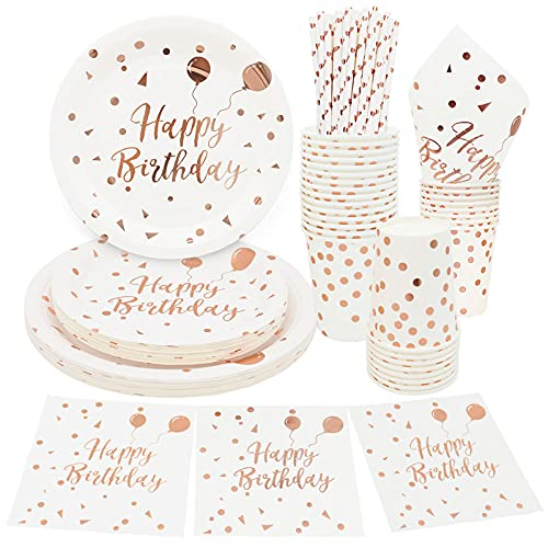 125 Pcs White and Rose Gold Birthday Plates Set Rose Gold Plates Napkins and Cups Sets for Birthday Party Decoration -25 Guests