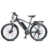 LYRWISHLY 26' Bicicleta eléctrica de montaña for Adultos, 350W E-Bici con 36V 13Ah Litio-Ion for Adultos, Profesional 27 Velocidad de Transmisión Engranajes (Color : Black)