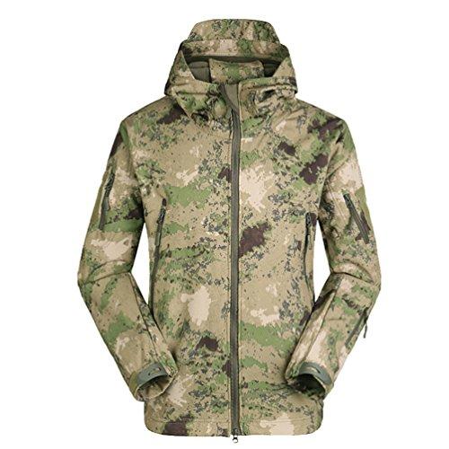 YuanDian Herren Taktisch Softshell Fleecejacke Camouflage Militär Hoodie Outdoor Wandern Camping Warm Innenfutter Winddicht Wasserdicht Mantel Jacken Skijacke Ruinen Grün XL