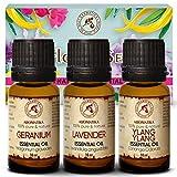 Set di oli essenziali 3x10ml - Ylang Ylang - Geranium Bourbon - Olio essenziale di lavanda - 100% puro e naturale per aromaterapia - Perfetto per i diffusori - Bruciatori e umidificatori - Bellezza