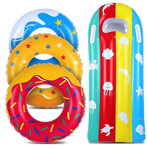 JoinJoy Schwimmring Donut Kinder Schwimmreifen Luftmatratze Wasserspielzeug Wasser Aufblasbare Schwimmnudel Schwimmreif Schwimmkissen für Pool 4PCS