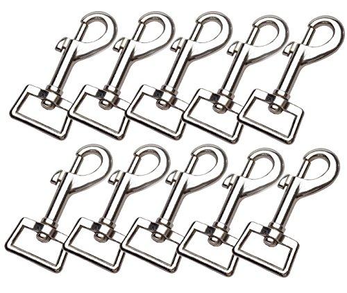 LOUHUA 10 Pieces 3 x 1 Inch Heavy Duty Nickel Plated Swivel Snap Hooks Pet Buckle