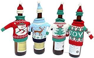 Miss.AJ Winter Wine Bottle Knit Sweater, Christmas Wine Decoration, Wine Bottle Dress, Holiday Clothing, Wine Bottle Cover, Wine Gift Giving Idea - Set of 2