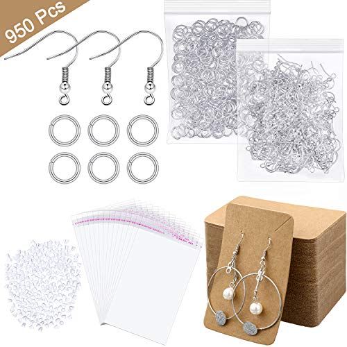 950 Pieces Earring Making Supplies Kit, Hypoallergenic Earring Fish Hooks, Jump Rings, Clear Earring Backs, Earring Display Cards and Self-Adhesive Bags for DIY Jewelry Accessory Display