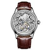 FENKOO Luxus Tourbillon Uhren, High-End-Tourbillon manuelle mechanische Uhr der beiläufigen Männer der Uhr handgemachte dreidimensionale Lunar New Year Geschenk Kuh Uhren (Farbe : Silber)