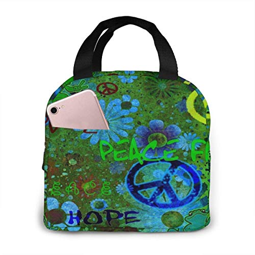 Peace Smile Frogs Bolsa de almuerzo aislada reutilizable con cierre de cremallera Caja de asas con bolsillo frontal para mujeres/hombres Oficina Niños Niñas Escuela