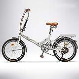 QIANG Bicicleta De Ciudad Plegable para Hombre 20 Pulgadas Peso Ligero 6 Velocidades Bicicleta para Adultos Estudiante Coche Plegable De Lujo,White