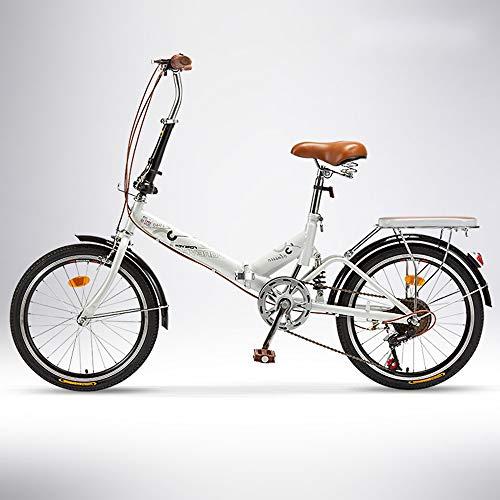 QIANG Faltbares City Bike Man 20 Zoll Leichtes 6-Gang-Fahrrad Für Erwachsene Frauen Student Luxus-Faltauto,White