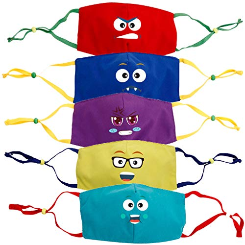 Staresen 5PCS Studenten Tägliche Stimmung Mundschutz Kinder Atmungsaktive Drucke Anime Husten Filter Waschbarer Gesichtsschutz Schal Bandana Set mit verstellbarem elastischem Ohrbügel