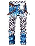 Enrica Men's Casual Printed Jeans Skinny Denim Pants (36, 194 Blue)