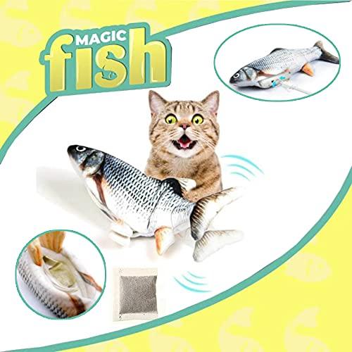 ISL Magic Flippity Fish Katzenspielzeug, bewegt Sich wie EIN echter Fisch, inkl. Katzenminze - Fisch Spielzeug für Katzen zum Spielen, beißen, kauen, mit USB Ladefunktion (ca. 32cm)