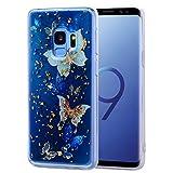 LYYJIAJU Caja del TeléFono Celular For Galaxy S9, Dibujos Animados patrón de la Caja Protectora del teléfono del Estilo de la Hoja de Oro caída de Cola TPU (Pattern : Blue Butterfly)
