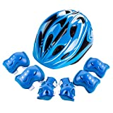Easy Living Kids Helmet and Knee Pads Elbow Wrist Guard Sport Protective Gear for Cycling Skating Skiing Adjustable for Children 5 to 12 Years Old (Blue)