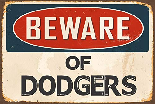 Vintage Retro Metal Tin Sign Beware of Dodgers Outdoor & Home Bar Kitchen Club Wall Decor Sign