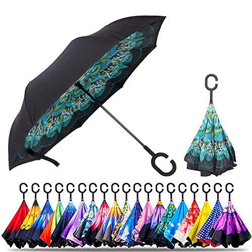 Original Deals umgekehrter Regenschirm, doppelschichtig, UV-Schutz, einzigartiger winddichter Regenschirm, umgekehrt offen, faltbarer Regenschirm mit C-Haken zum Aufhängen an Punkten (grüne Blume)