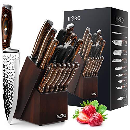 Knife Set Kitchen Knife Set with Block Wooden, HOBO Chef Knife Set with Sharpener, High Carbon Stainless Steel Knife Set, Boxed Knife Sets