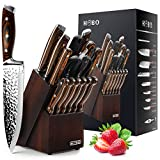 Knife Set, 15-Piece Kitchen Knife Set with Block Wooden, HOBO Chef Knife Set with Sharpener, Japan High Carbon Stainless Steel Knife Block Set, Boxed Knife Sets, Color Wooden Handle.