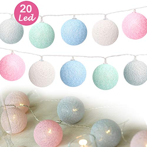Cotton Ball Lights,Sporgo Cotton Ball Lichterkette 3M 20 LED Lichterkette Bälle Mit USB Anschluss,Lichterkette Bälle Baumwolle Süßigkeitfarbe (6cm)