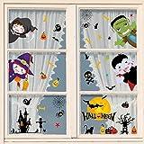 heekpek Halloween Fenêtre Autocollants Halloween Citrouille Chat Chauve-Souris et Fantôme Stickers pour Halloween Décorations De Fête d'halloween Autocollants de Fenêtre