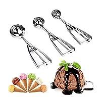 Set di 3porzionatori per gelato in acciaio inox, cucchiai da cucina per dosare il gelato o la purea creando palline (4cm, 5cm, 6cm)