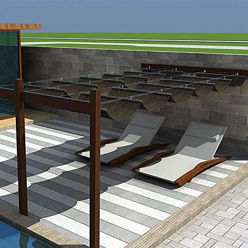 KANULAN Ausziehbare Sonnensegel Slide on Wire Sonnenschutz Versenkbare Pergola Überdachung Atmungsaktive Markise Dachterrasse Terrasse Veranda Pool(Color:Brown;Size:1x8m)