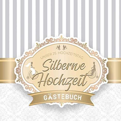 Silberne Hochzeit Gästebuch: zum 25. Hochzeitstag | Dekoration zur Feier der Silberhochzeit | 25...