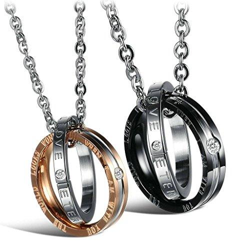 Adisaer Acier Inoxydable Couple Femme Homme Collier Pendentif 2PCS - Diamant Rose Ring Valentine Argent Or Noir