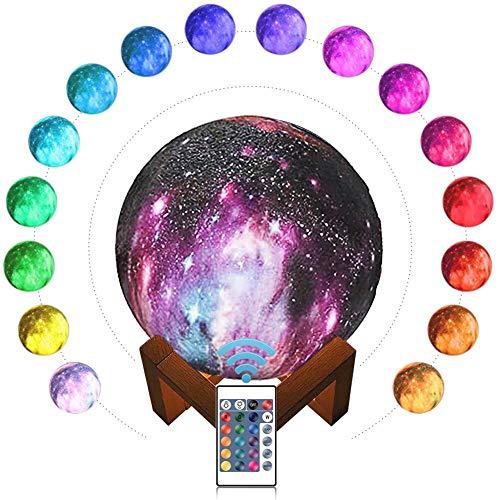 SaponinTree 15cm LED Mond Lampe mit Fernbedienung, 3D Mond Kunst LED RGB Mondlicht Tragbares Nachtlicht mit USB Aufladung, 16 Lichtfarben Wechsel