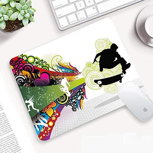 Tapis de Souris Gaming 320 x 250 mm,Adolescent, Thème Vivid Young avec Scater Boy et Rainbow Colores Swirls,Surface spéciale améliore la Vitesse et la précision,Base en Caoutchouc Antidérapant Surface