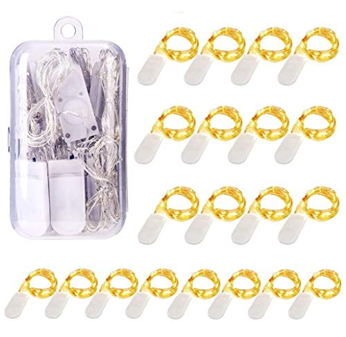 20 Pack 1M 10 LED Fairy Lights Battery Operated String Lights Warm White Copper Wire, Great for Home Garden Wedding Party Christmas Halloween Concerts Bars Clubs Hotels Indoor Outdoor Decorations.