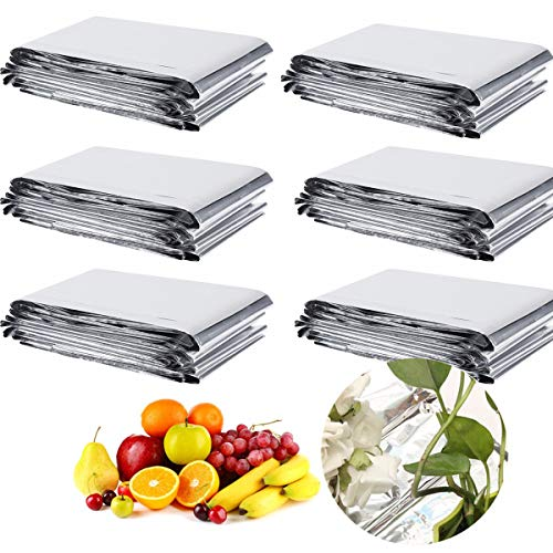 6 Pack High Silver Reflective Mylar Films Foil Sheets for Garden Greenhouse Covering Plant Growth, Effectively Increase Plants Growth(210 x 130 cm)