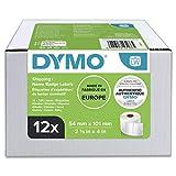 DYMO LW - Etiquetas auténticas de envío/tarjetas de identificación grandes, 54mm×101mm, 12rollos de 220etiquetas (2640unidades con reverso fácil de retirar), autoadhesivas, para rotuladoras LabelWriter