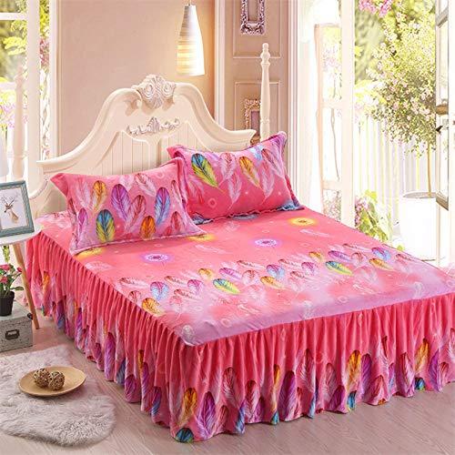 Hllhpc Koreaanse versie van de Franse fleece bedrok enkel stuk dik warm koraal fleece bed cover kant bed cover