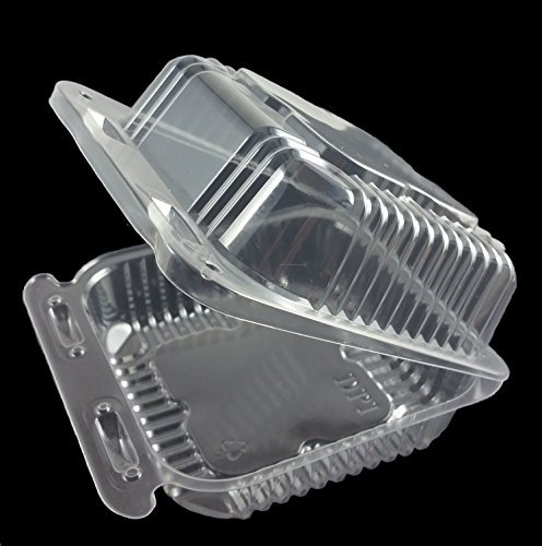 """Plastic Clear Hinged Containers 5-1/4"""" x 5-5/8 Square Medium"""
