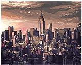 fahut Pintura Digital De Bricolaje para Adultos Y Niños Pintar por Kits Numéricos Anochecer Tranquilo Nueva York Alojamiento De Cumpleaños Decoración Navideña Regalos 40X50Cm con Marco