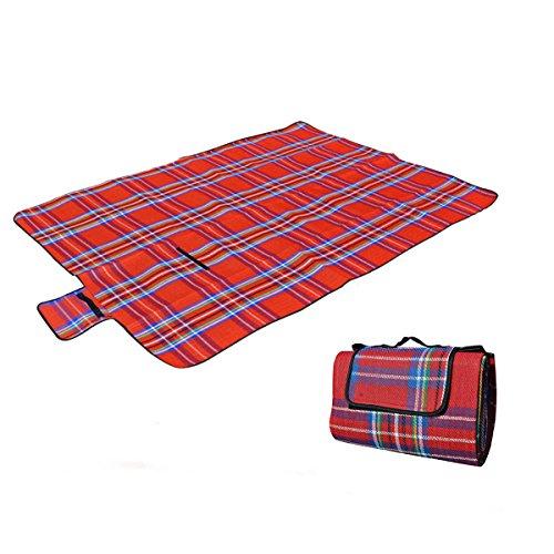 Kvolity Picknick Decke Leichte Wasserdicht Unterseite, 130 x 150CM, Rot