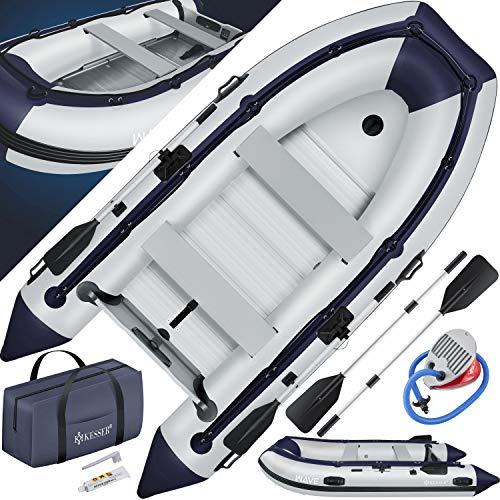 KESSER® Schlauchboot 3,20 m für 4 Personen - Wave Motor geeignet Freizeitboot Paddelboot Motorboot Angelboot - mit 2 Sitzbänken - Alu-Boden Paddel Pumpe Reparaturset & Tasche aufblasbar PVC, Grau