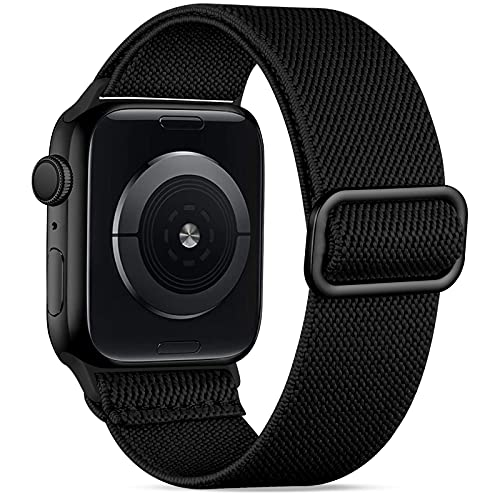 Wepro Strap Compatible with Apple Watch 40mm 38mm for Women/Men, Stretchy Adjustable Nylon Stylish Replacement Strap for Apple Watch SE/iWatch Series 6 5 4 3 2 1, Black-N