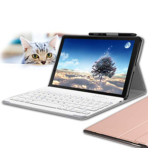 Galaxy Tab S4 10.5 Keyboard Case, Wineecy Stylish PU Leather Auto Sleep/Wake with Magnetically Detachable Bluetooth Wireless Keyboard for Samsung Galaxy Tab S4 10.5 inch T830 T835 T837, Pink