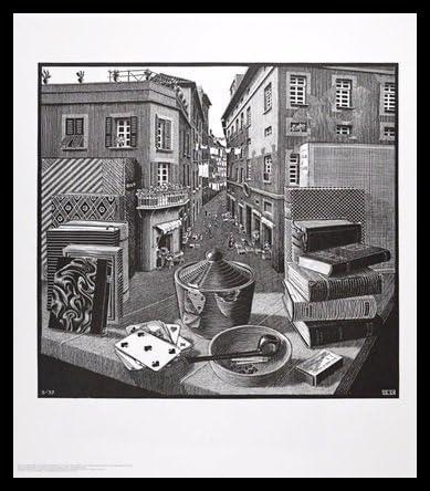 MC Escher Stilleben und Strasse Poster Kunstdruck Bild 65x55cm